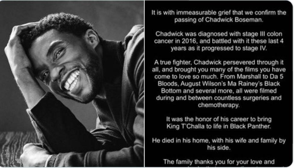 Fallece Chadwick Boseman por cáncer de colon